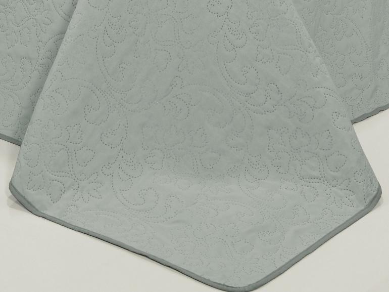 Kit: 1 Cobre-leito Queen Bouti de Microfibra Ultrasonic + 2 Porta-travesseiros - Palace Cinza - Dui Design