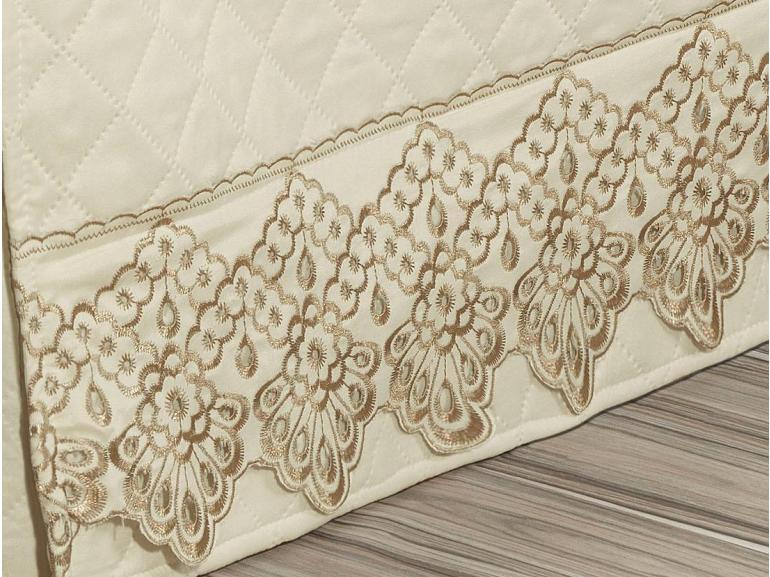 Saia para cama Box Matelassada com Bordado Inglês Solteiro - Palazzo Marfim - Dui Design
