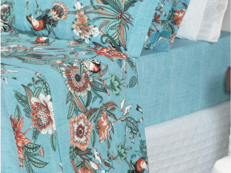 Jogo de Cama Queen 150 fios - Pamela Azul - Dui Design