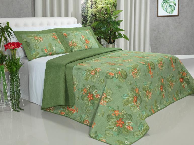 Kit: 1 Cobre-leito Queen Bouti de Microfibra Ultrasonic Estampada + 2 Porta-travesseiros - Panama Verde - Dui Design