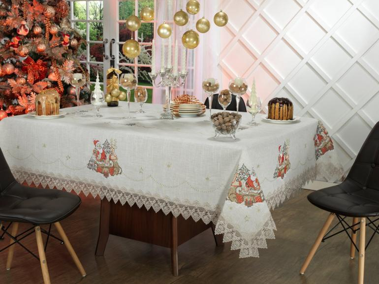 Toalha de Mesa Natal de Linho com Bordado Richelieu Quadrada 4 Lugares 160x160cm - Papai Noel Bege - Dui Design