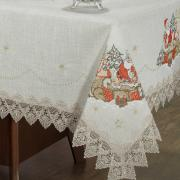 Toalha de Mesa Natal de Linho com Bordado Richelieu Retangular 8 Lugares 160x270cm - Papai Noel Bege - Dui Design
