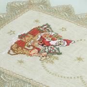 Trilho de Mesa Natal de Linho com Bordado Richelieu 40x85cm Avulso - Papai Noel Bege - Dui Design