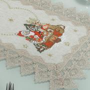 Trilho de Mesa Natal com Bordado Richelieu 40x85cm Avulso - Papai Noel Bege - Dui Design