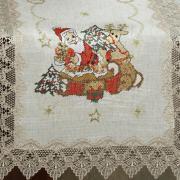 Trilho de Mesa Natal de Linho com Bordado Richelieu 45x170cm Avulso - Papai Noel Bege - Dui Design