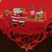 Centro de Mesa Natal Quadrado com Bordado Richelieu 85x85cm - Papai Noel Vermelho - Dui Design