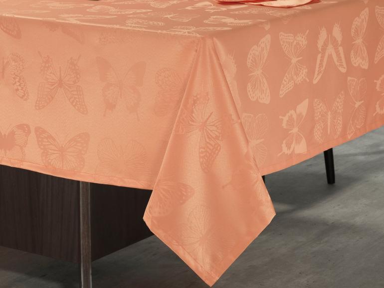 Toalha de Mesa Fácil de Limpar Retangular 6 Lugares 160x220cm - Papillon Salmão - Dui Design