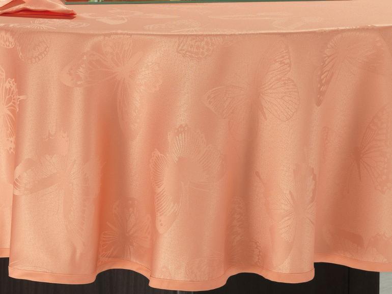 Toalha de Mesa Fácil de Limpar Redonda 220cm - Papillon Salmão - Dui Design