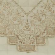 Jogo de Cama Queen Cetim de Algodão 300 fios com Bordado Inglês - Paradiso Natural e Gold - Dui Design