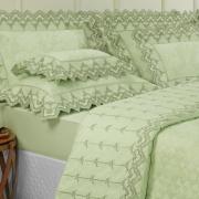Jogo de Cama Casal Cetim de Algodão 300 fios Jacquard com Bordado Inglês - Paris Verde - Dui Design