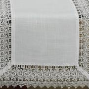 Trilho de Mesa com efeito Linho e com Bordado Guipir 45x170cm Avulso - Parma Branco e Branco - Dui Design