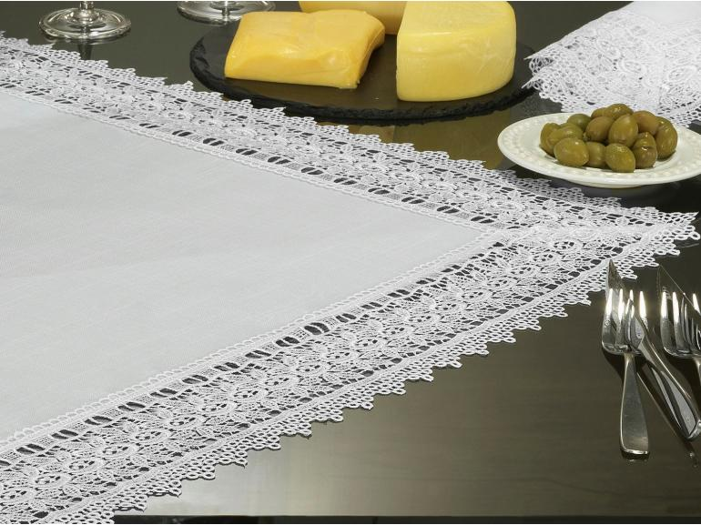 Centro de Mesa Quadrado com efeito Linho e com Bordado Guipir 85x85cm - Parma Branco e Branco - Dui Design