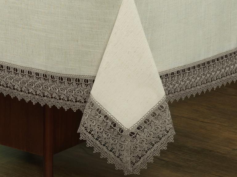 Toalha de Mesa de Linho com Bordado Guipir Retangular 6 Lugares 160x220cm - Parma Linho e Fendi - Dui Design