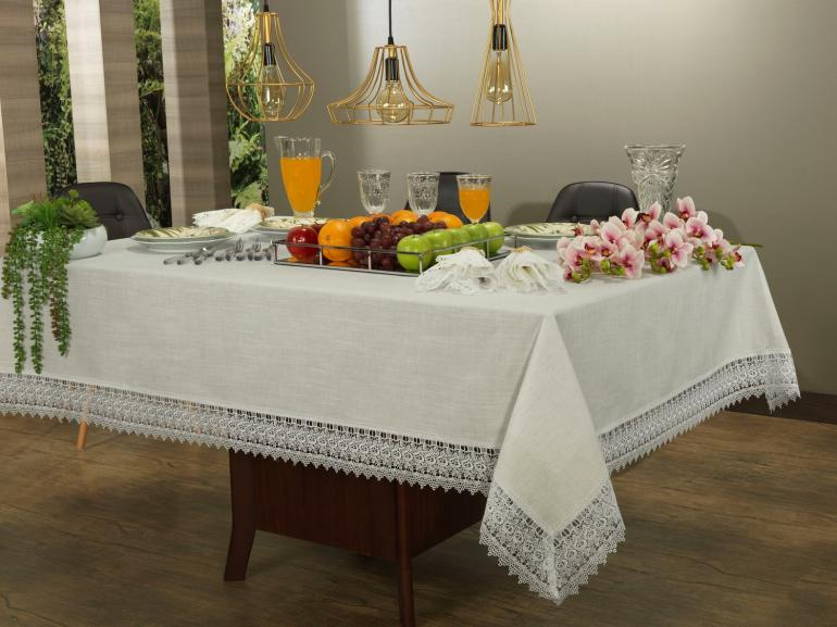 Toalha de Mesa de Linho com Bordado Guipir Retangular 10-12 Lugares 160x320cm - Parma Linho e Natural - Dui Design