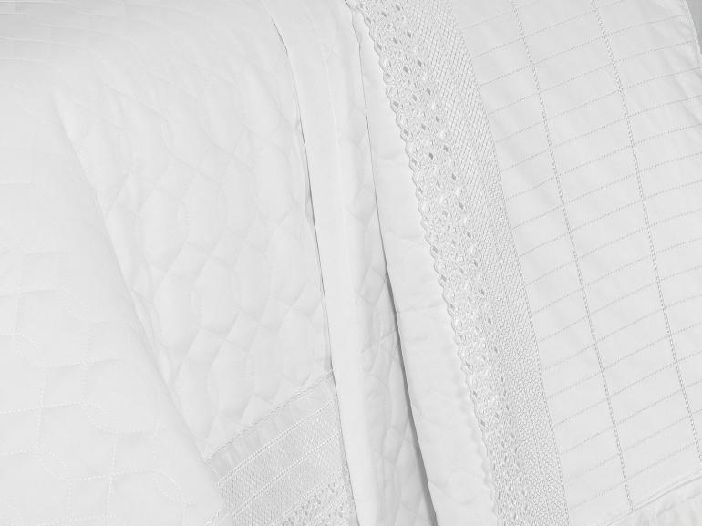 Jogo de Cama King Cetim de Algodão 1.000 fios com Bordado Inglês - Passini Branco - Dui Design