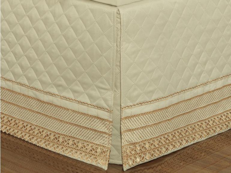 Saia para cama Box Matelassada com Bordado Inglês Casal - Passini Marfim - Dui Design