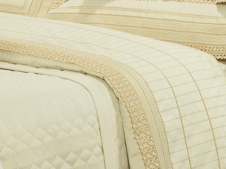 Jogo de Cama Casal Cetim de Algodão 1.000 fios com Bordado Inglês - Passini Marfim - Dui Design