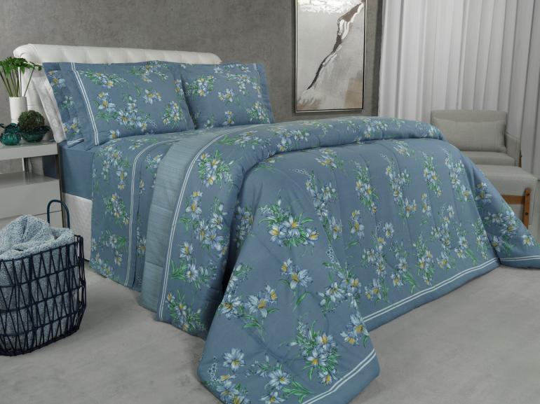 Jogo de Cama Queen 150 fios - Patrine Azul - Dui Design