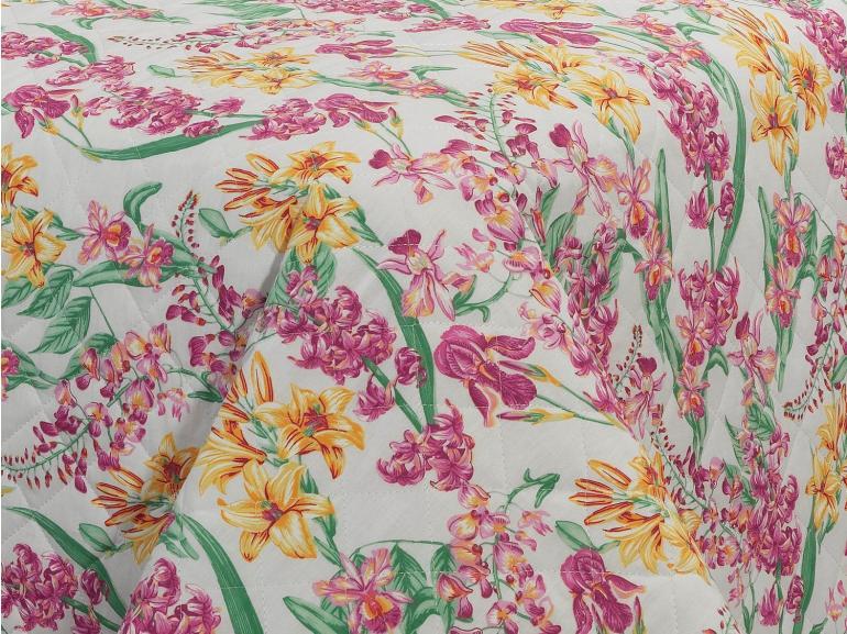 Kit: 1 Cobre-leito Queen + 2 Porta-travesseiros Percal 180 fios - Perla Orquídea - Dui Design
