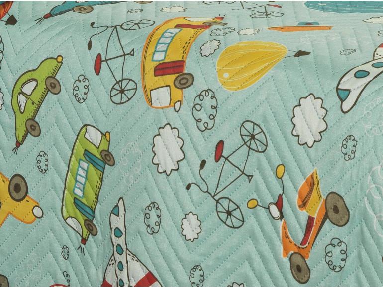 Kit: 1 Cobre-leito Casal Kids Bouti de Microfibra PatchWork Ultrasonic + 2 Porta-travesseiros - Peter Turquesa - Dui Design