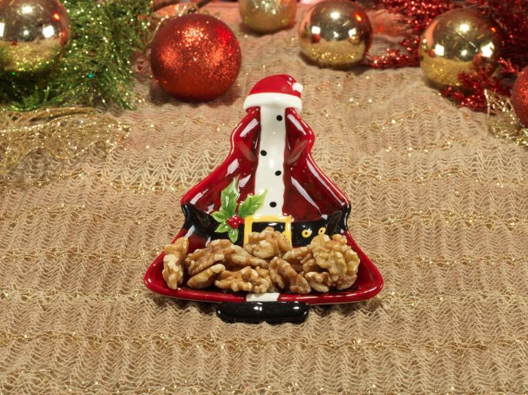 Petisqueira Natal de Cerâmica Árvore - Papai Noel 17,5x13,5cm - Dui Design