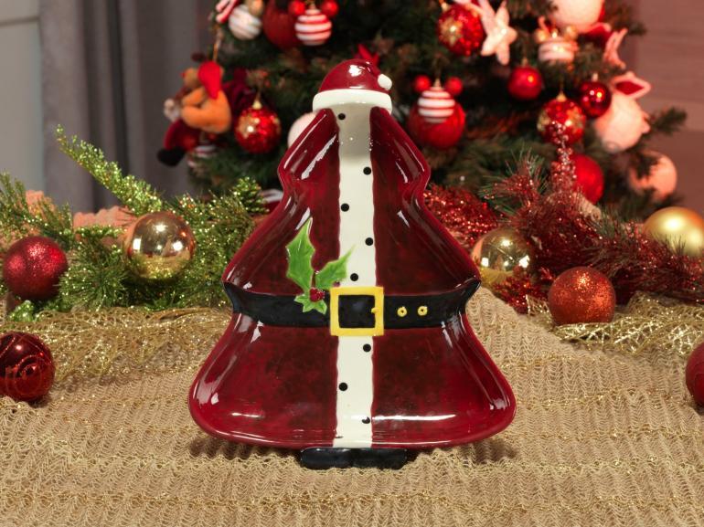 Petisqueira Natal de Cerâmica Árvore - Papai Noel 32,4x23,5cm - Dui Design