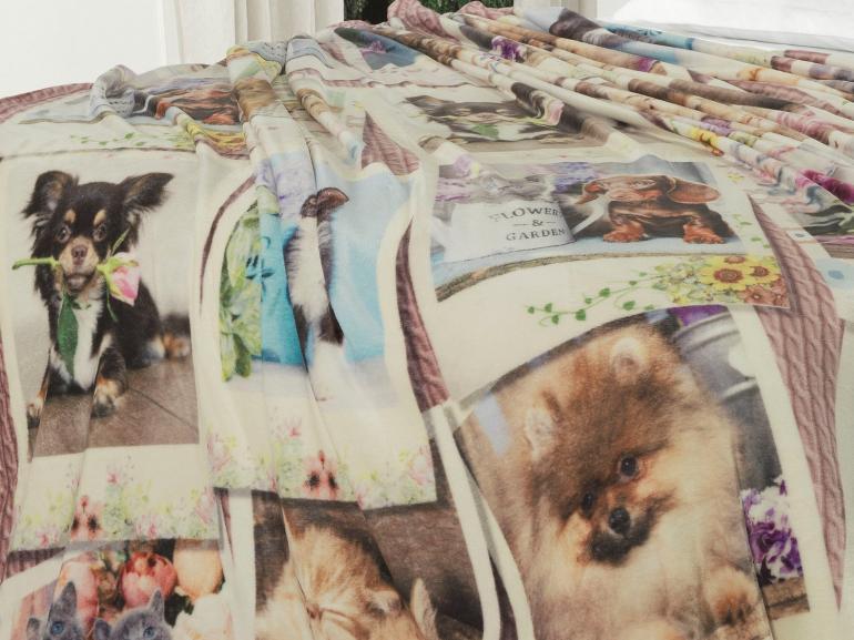Cobertor Avulso Casal Flanelado com Estampa Digital 280 gramas/m² - Pets Vintage - Dui Design