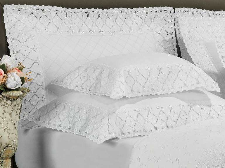 Jogo de Cama Queen Cetim de Algodão 300 fios com Bordado Inglês - Pienza Branco - Dui Design
