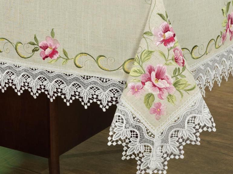 Toalha de Mesa com Bordado Richelieu Retangular 6 Lugares 160x220cm - Pietra Bege e Rosa - Dui Design