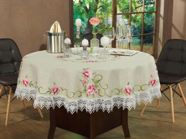 Toalha de Mesa com Bordado Richelieu Redonda 180cm - Pietra Bege e Rosa - Dui Design