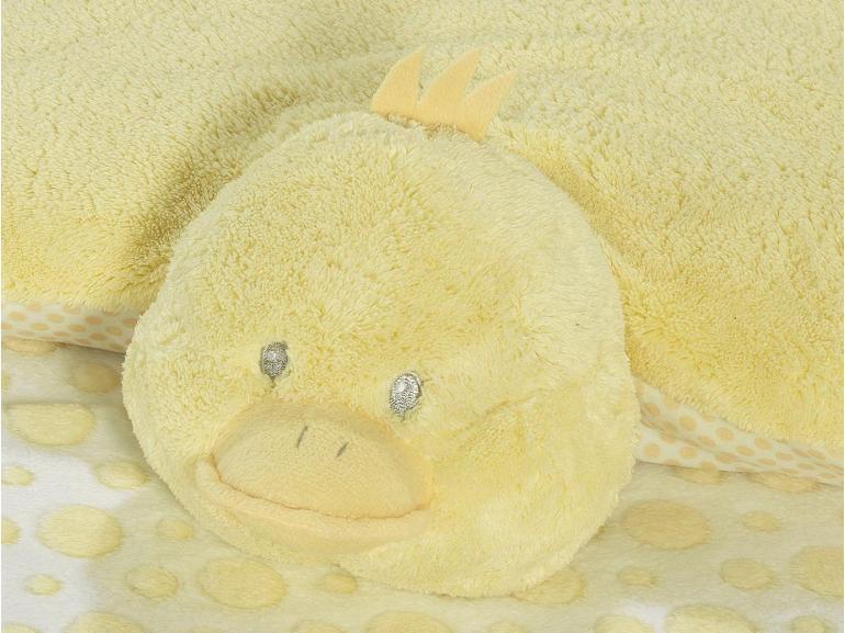 Kit: 1 Manta Jacquard Baby de Microfibra + 1 Almofada Baby Kids de Bichinhos - Pintinho Amarelinho - Dui Design