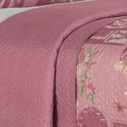 Kit: 1 Cobre-leito Casal Bouti de Microfibra Ultrasonic Estampada + 2 Porta-travesseiros - Poema Rosa Velho - Dui Design