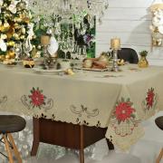 Toalha de Mesa Natal com Bordado Richelieu Retangular 8 Lugares 160x270cm - Poinsetia Bege - Dui Design