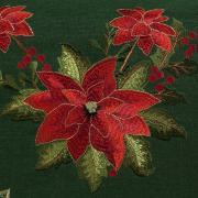 Trilho de Mesa Natal com Bordado Richelieu 45x170cm Avulso - Poinsetia Verde - Dui Design