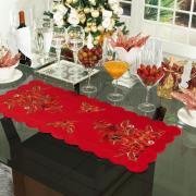 Trilho de Mesa Natal com Bordado Richelieu 40x85cm Avulso - Poinsetia Vermelho - Dui Design