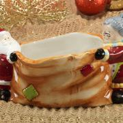 Porta Doces Natal de Cerâmica com 13,5cm de altura - Mamãe e Papai Noel - Dui Design