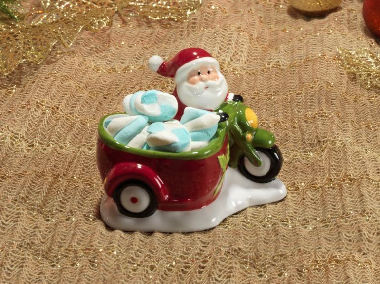 Porta Doces Natal de Cerâmica com 11,7cm de altura - Papai Noel - Dui Design