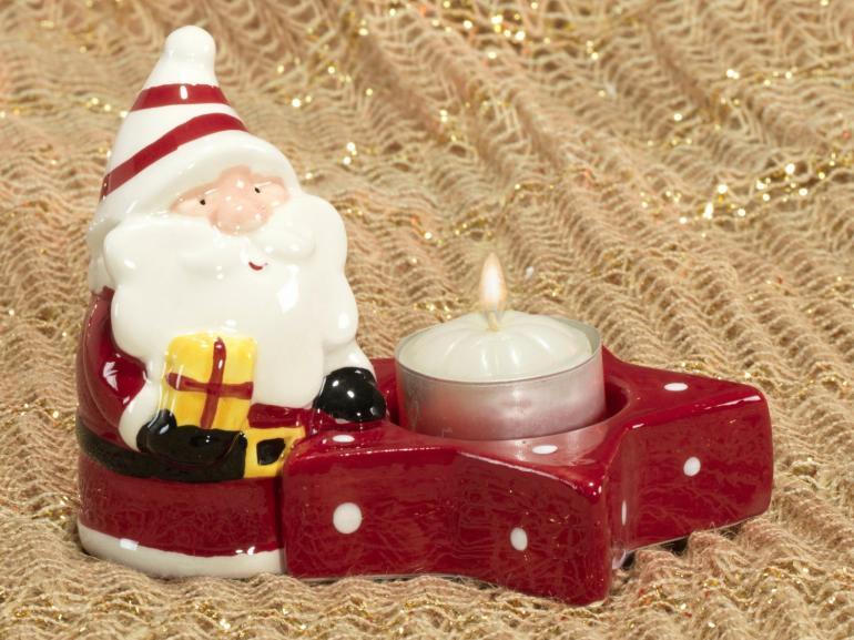 Porta Vela Natal de Cerâmica com 9cm de altura - Magia - Dui Design