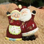 Porta Vela Natal de Cerâmical com 12,4cm de altura - Mamãe e Papai Noel - Dui Design