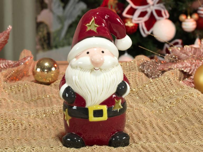 Porta Vela Natal de Cerâmica com 20,5cm de altura - Santa Claus - Dui Design