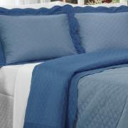 Kit: 1 Cobre-leito Casal Bouti de Microfibra Ultrasonic + 2 Porta-travesseiros - Portus Azul Indigo - Dui Design