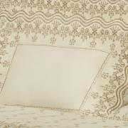 Jogo de Cama Queen Cetim de Algodão 300 fios com Bordado Inglês - Positano Marfim e Camurça - Dui Design