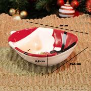 Prato Fundo Natal de Cerâmica Oval - Papai Noel 15,5x19cm - Dui Design