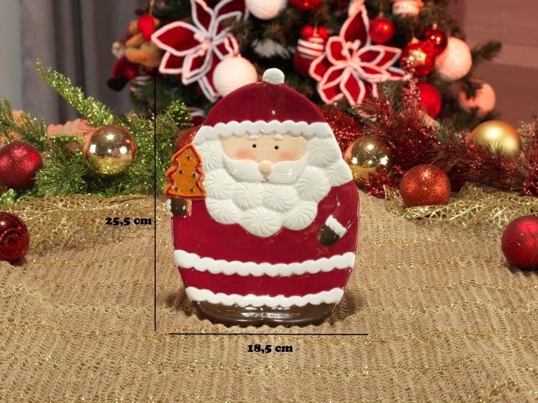 Prato Fundo Natal de Cerâmica Oval - Santa Claus 25,5x18,5cm - Dui Design