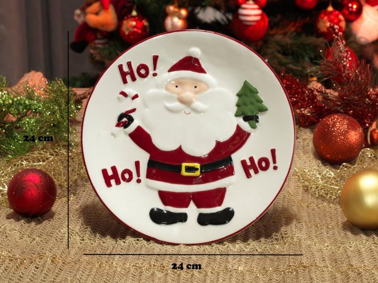 Prato Natal de Cerâmica Redondo - Hohoho 24x24cm - Dui Design