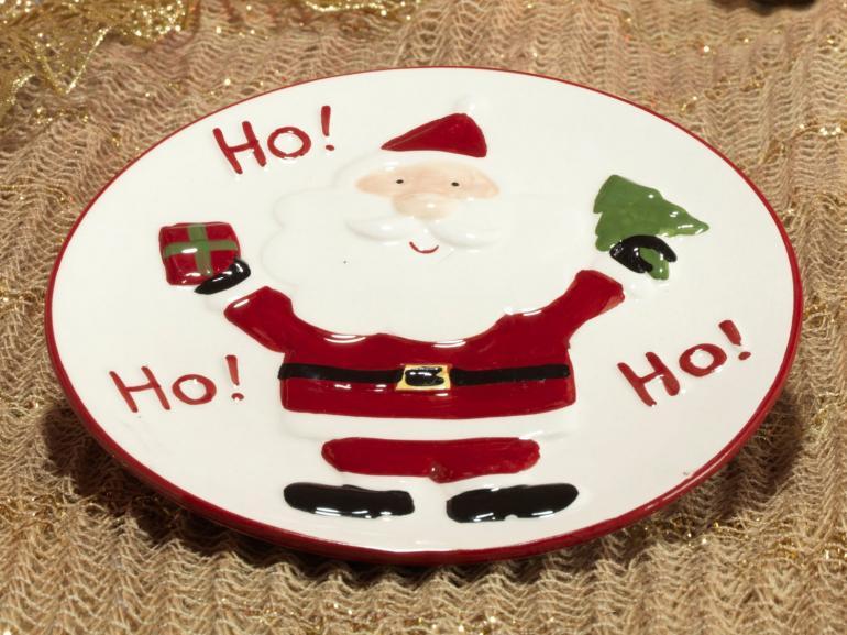 Prato Natal de Cerâmica Redondo - Hohoho 19,5x19,5cm - Dui Design