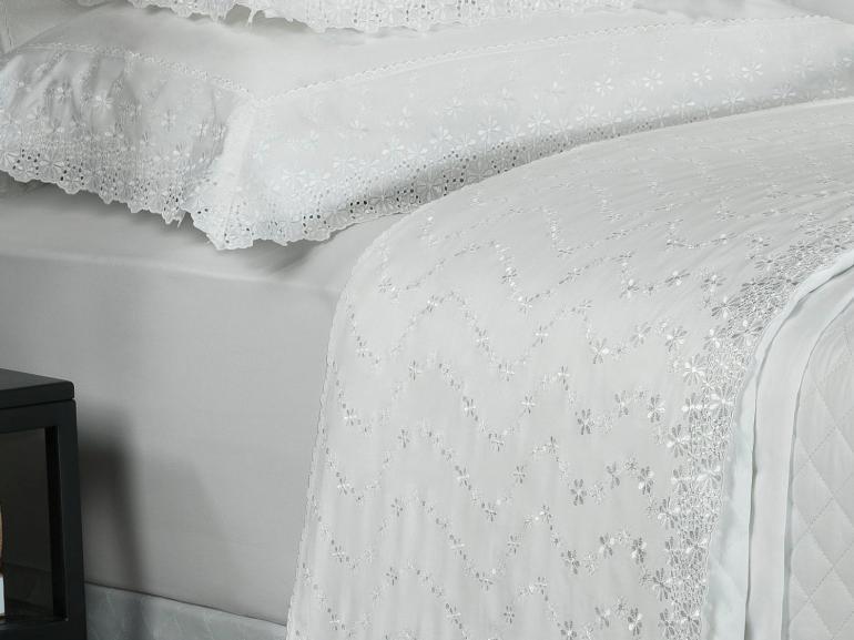 Jogo de Cama Casal Percal 200 fios com Bordado Inglês - Primavera Branco - Dui Design