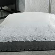 Kit: 1 Cobre-leito Casal + 2 porta-travesseiros Percal 200 fios com Bordado Inglês - Primavera Branco - Dui Design