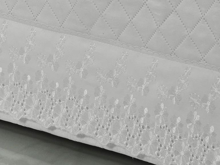 Saia para cama Box Matelassada com Bordado Inglês Casal - Primavera Branco - Dui Design