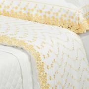 Kit: 1 Cobre-leito Casal + 2 porta-travesseiros Percal 200 fios com Bordado Inglês - Primavera Branco e Amarelo - Dui Design